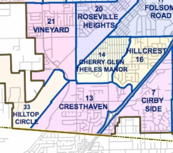 Cresthaven below Cherry Glen Theiles Manor Hillcrest beside Hilltop Circle Cirbyside Roseville CA neighborhood associations map