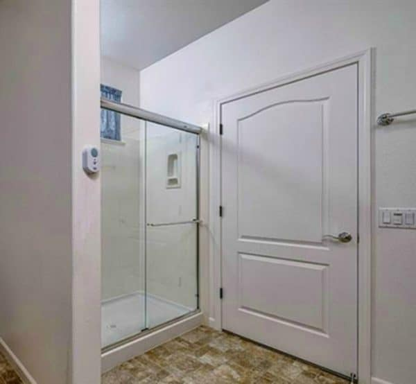 Kaye Swain Roseville REALTOR sharing Eskaton Village Retirement Home at Diamond Creek shower with aging in place safety features a