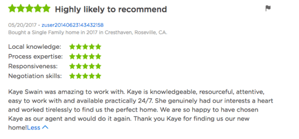 Kaye Swain Roseville REALTOR review from Ann and Gary 2017