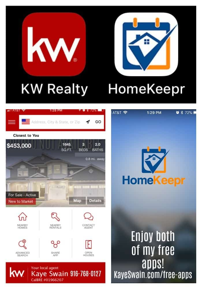 Kaye Swain Roseville Real Estate Agent sharing both my free home maintenance and real estate apps