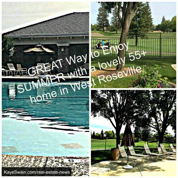 55+ homes for sale in West Roseville all have swimming pools and Del Webb Sun City Roseville has golf as well via Kaye Swain REALTOR