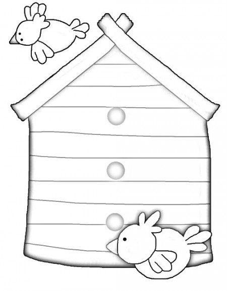 A bird house coloring page - my senior mom loves the birds in our neck of the woods