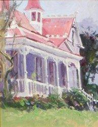 Beautiful pink Victorian old house painting via Kaye Swain social media blogger