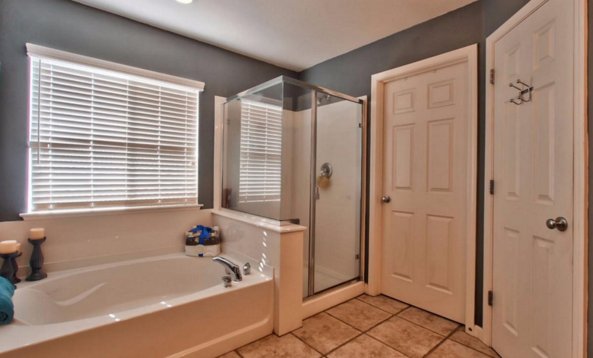 Kaye Swain REALTOR sharing option for first time home buyers at 1921 Glenveagh Lane Lincoln CA 95648 master bathroom with walk in shower which is handy for aging in place