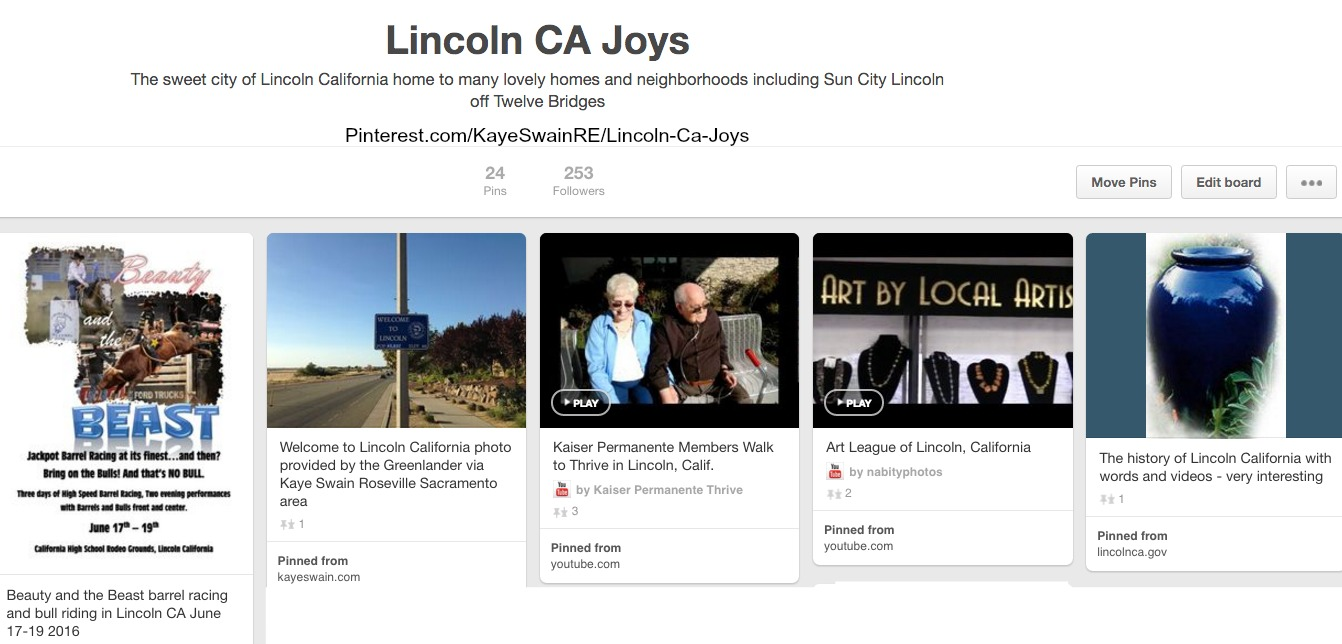 Lincoln CA Joys at Pinterest via Kaye Swain REALTOR Roseville California