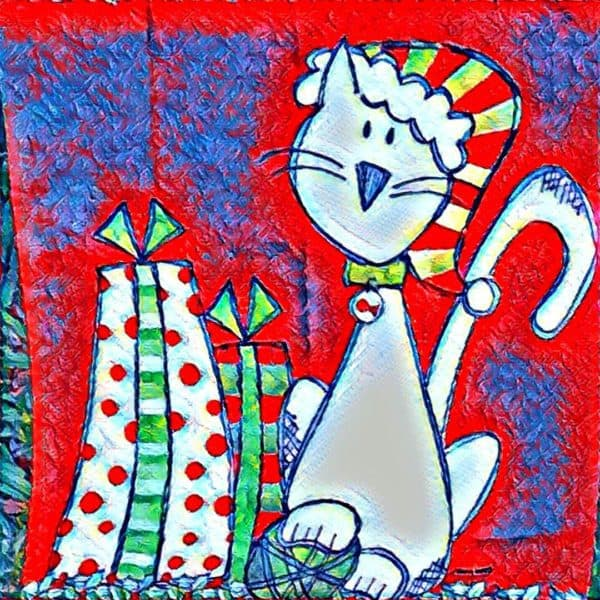 Woodcreek Oaks Neighborhood REALTOR Kaye Swain sharing kitty Christmas Home Decor