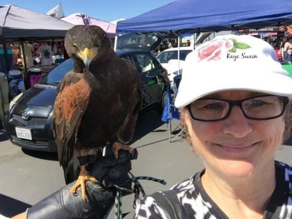 Kaye Swain Roseville neighborhood real estate agent loves meeting Roseville neighbors pets and cool birds