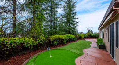 backyard putting green at single story home for sale in Rocklin CA
