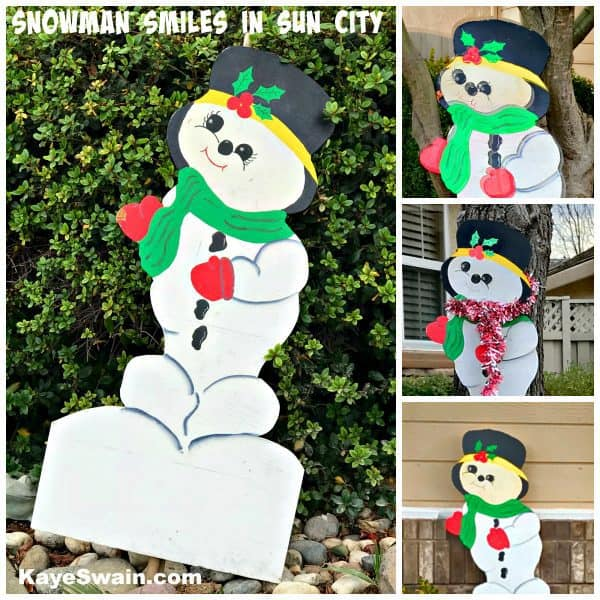 Snowman smiles in Sun City Golf retirement community by Kaye Swain
