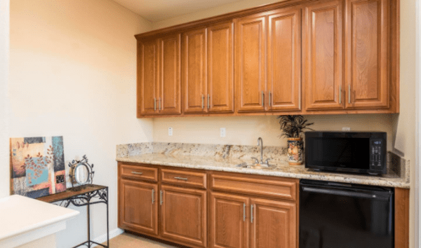 Lovely active senior Living Community in Silverado Homes Roseville CA Volonne cargivers kitchenette