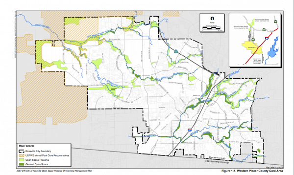 Roseville CA open spaces plan and map