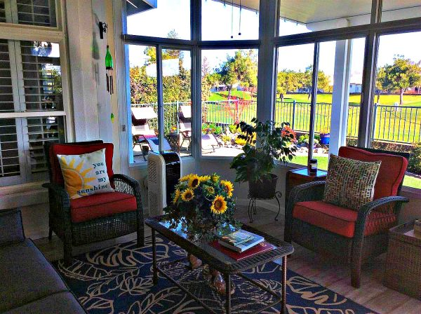 enclosed patio in one of Roseville Del Webb homes sale via Kaye Swain Sun City Roseville California real estate agent b