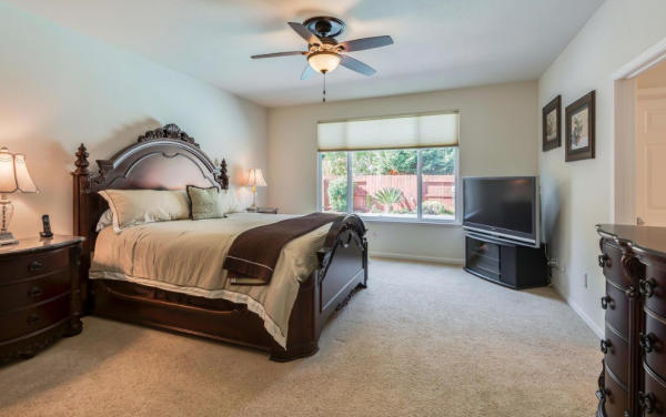 Master Bedroom in one of the single story homes sale Lincoln California