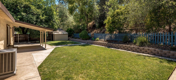 Beautiful back yard in one of the delightful single story homes for sale in Rocklin CA
