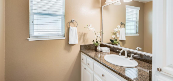 Beautiful counter top and faucets in this single story home for sale in Rocklin California