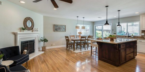 The kitchen with breakfast nook in this sweet home near Clover Valley Creek in Placer COunty CA