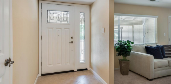 one of the homes for sale in rocklin ca with beautiful entry way door with semi-private windows