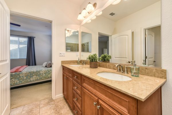Lots of light in this master bathroom along with the closet and shower