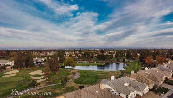 Sun-City-Roseville-retirement-golf-community-drone-photo-water-hole