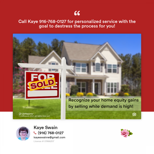 Call your Roseville Real Estate Agent Kaye Swain to check on 55+ Roseville CA real estate sale options