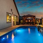 Gorgeous lighting around the pool of this lincoln ca house sale