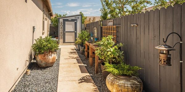 practical shed and lovely raised bed gardening in one of houses sale lincoln california