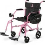 A pretty in Pink and easy to load transport wheelchair from Amazon for my Pierce County elderly mom
