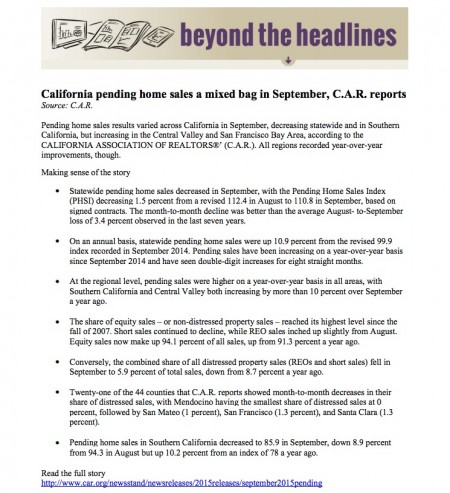 Beyond the Headlines from California Association of REALTORS via Kaye Swain Roseville CA