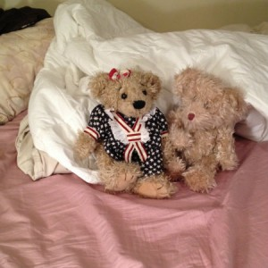 Cute and cuddly bears on a slightly messy bed will help Kaye Swain keep the bed bugs away