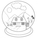 Snowglobe coloring page for kids and grandkids 450