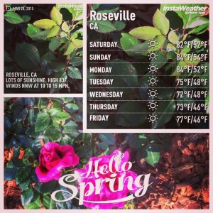 The weather in Roseville CA for the end of March 2015 when many cities across the US are getting SNOW